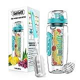 Coolstuffx 3in1 Fruit Infuser Wasserflasche + Protein Shaker Großer 1 Liter oder 32 oz + motivierende Zeitanleitung, BPA-frei, kostenloses Rezeptheft, blaugrün