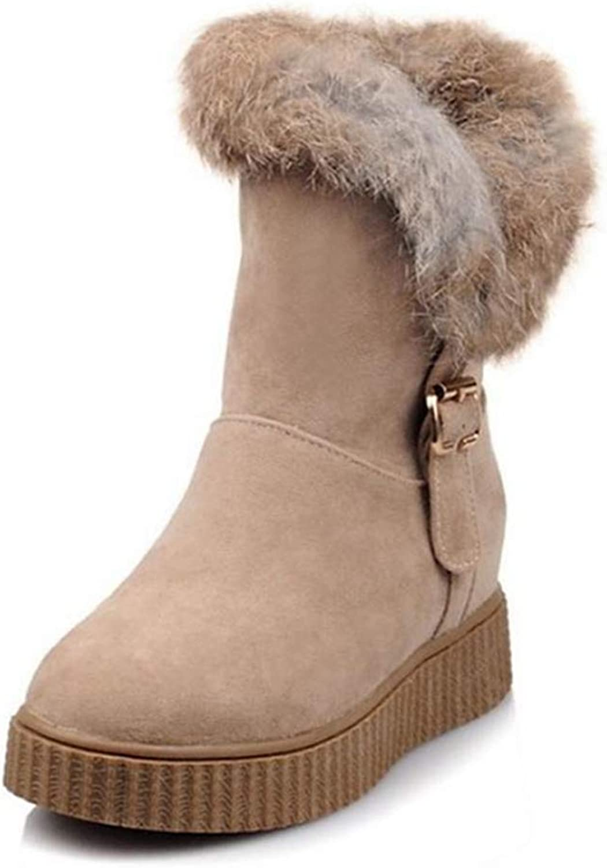 Womens Classic Warm Mid Calf Boots Plush Fur Wedges Heel Round Toe Winter Snow Booties