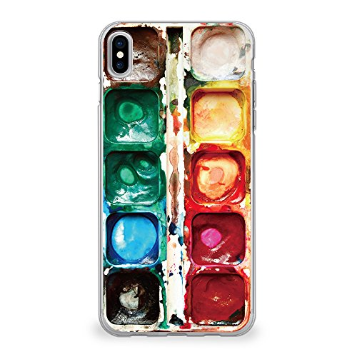 CasesByLorraine Compatible with iPhone Xs/iPhone X Case, [for Men & Women] Watercolor Paint Box Flexible TPU Soft Gel Protective Cover for iPhone X/XS 5.8'