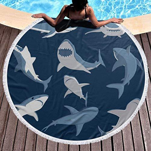 Toalla de playa redonda gruesa de tiburón de dibujos animados, manta de picnic al aire libre, decoración de playa de microfibra para mujer