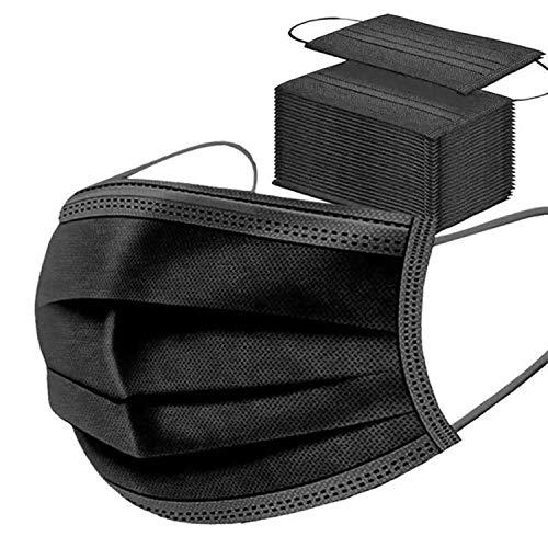 Con correas elásticas para las orejas, transpirables, para adultos, hombres, mujeres, uso al aire libre o en espacios interiores Calidad extra- Color: NEGRAS Pack 50 unidades