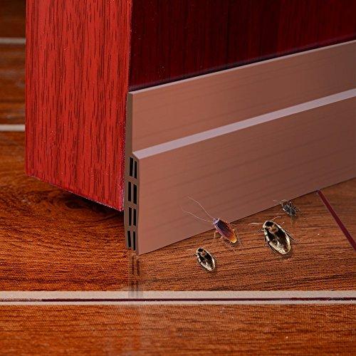 Burlete Puerta,HEQUN Burlete Bajo Puerta Burlete Autoadhesivo de Goma de Silicona, Antipolvo Aislamiento Acústico Prueba De Viento y Agua 100 x 5cm (marrón)