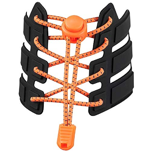 No Tie Shoelaces, Reflective Elastic Lock Shoe Laces by iLiveX, One Size Fits All Adult and Kids Shoes (Orange)