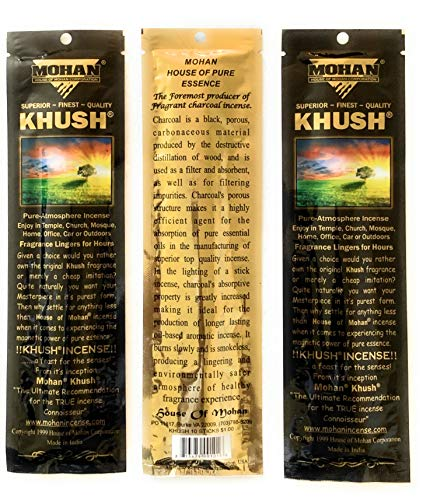 Mohan Incense KHUSH Scents Pack 250 Sticks (9.2 Inches Tall) - Makers of the World Famous Khush Scent - Premium Pure Charcoal Incense Hand Rolled in the Finest Herbs, Spices, Oils, Honey, and Sandalwo