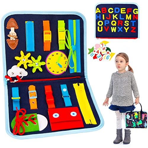 OMEW Busy Board para Niños, Tablero Ocupado de 3 Capas, Juguetes Educativos Montessori——Regalo Educativo Temprano para Niños Pequeños de Bebes para Viajes en Coche, Hogar