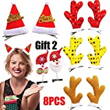Christmas Tree Bows for Women-Santa Clip on Hat-Hair Accessories Reindeer Antlers Hair Clips Party Accessory for Women Girl Cute Santa Hat Crocodile clip-Kids Holiday Gift-10PCS