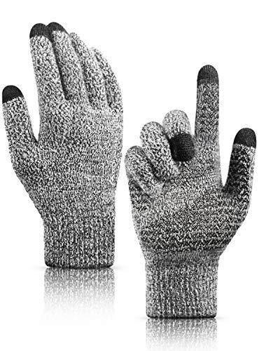 HONYAR Handschuhe Herren, Fahrradhandschuhe Männer Winter - Handschuhe Damen Touchscreen mit Thermo Warme Gefüttert - Elastische Manschette - Arbeitshandschuhe Laufhandschuhe - Schwarz & Weiß (M)