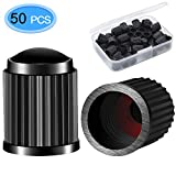 MENOLY Valve Stem Cap 50 Pack, Tire Caps Universal Stem Covers for Cars, Bicycle, SUVs, Motorbike and Trucks (Black)
