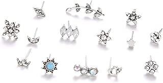 Ogquaton 14 Unids/Set Bohemian Moon Star Sun Heart Flower Crown Crystal Stud Earrings Set para Mujeres Cumpleaños Conveniente y práctico