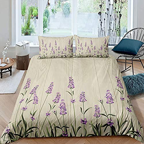 Meesovs Duvet Cover and Pillowcases Bedding Set Plant flowers beautiful purple lavenderSuper King(260 X 230 cm) 100% Polyester-Cotton Comfortable, Soft Easy Care 3-pcs Set+ 2 pillowcases (50 x 75 Cm)