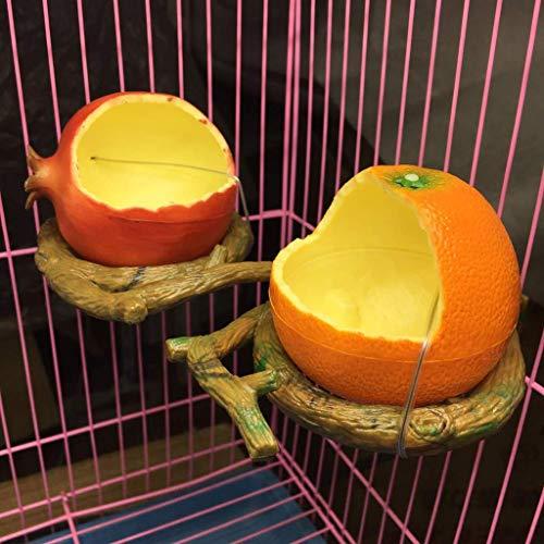 Ogquaton Gamelle en forme de fruits pour oiseaux avec distributeur d'eau et de nourriture pour animaux domestiques Durable et pratique