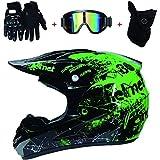 Casco Motocross Niño ECE Homologado - Enduro MTB Con Gafas Máscara Guantes Casco De Moto Infantil Cross Integral Infantil Para Mujer Hombre Adultos (Color : Green, Size : L(56-57cm))