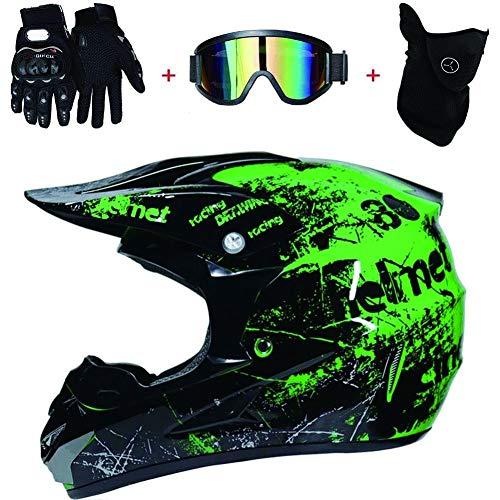 Casco Motocross Niño ECE Homologado - Enduro MTB Con Gafas Máscara Guantes Casco De Moto Infantil Cross Integral Infantil Para Mujer Hombre Adultos (Color : Green, Size : S(52-53cm))