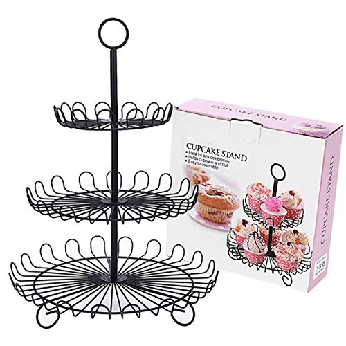 3 Tier Fruit Basket, Metal Fruit Vegetable Bowl for Kitchen Countertop, 3 Layer Wrought Iron Snack Cupcake Stand for Parties Wedding (Black)