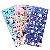 Naler Weinachtssticker 3D Weihnachten Sticker Weihnachtsaufkleber für Scrapbooking Wehinachtsgeschenk Dekoration, 6 Bogen