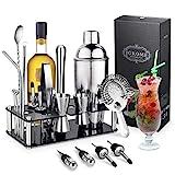 Igrome Kit Shaker Cocktailen Acier Inoxydable 750ml, Doseur, Pilon, Becs Verseurs Pinces etc Idée...