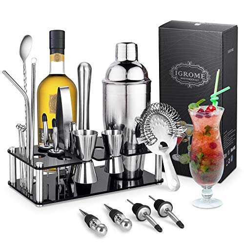 Set da cocktail Igrome da 16 pezzi, set da cocktail professionale, tra cui squisite cornici in acrilico, shaker, set regalo cocktail firmato completo