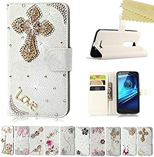 Motorola Droid Turbo 2 Cover, AMASELL Glitter Bling Diamonds [Stand View] PU Leather Flip&Card Slots Holder Folio Wallet Cases for Droid Turbo 2(2015)/Moto X Force/XT1585/XT1580, Cross Love