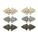 Careor - 6 pares de ganchos para coser o coser, diseño de flores, color dorado y plateado y cobre