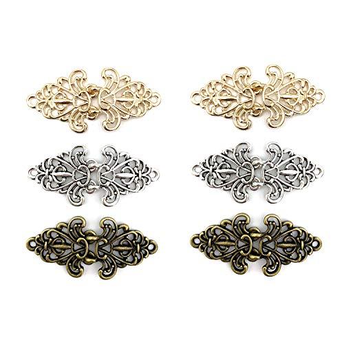 CAREOR 6 Paar Wirbel-Blumen-Umhang-Verschlüsse zum Aufnähen, Haken für Strickjacken, Kleidung, Mäntel, Jacken, Hosen, Gold & Silber & Kupfer