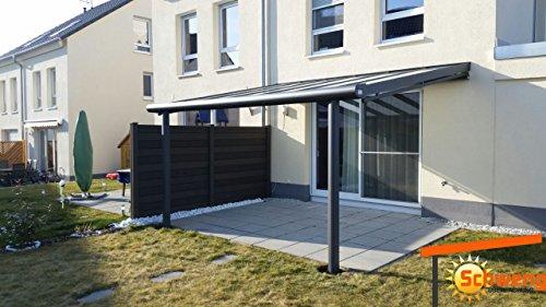 Hochwertige Terrassenüberdachung Schweng 16mm Polycarbonatplatten B: 6,00m x 2,50m T