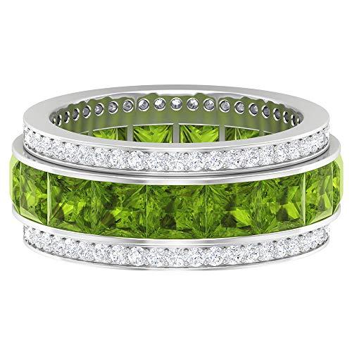 Anillo único de eternidad, anillo de peridoto corte princesa, anillo redondo de moissanita D-VSSI, anillo de boda con piedras preciosas de 6,7 quilates, 14K Oro blanco, Size:EU 48