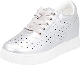 Cambridge Select Women's Lace-Up Laser Cutout Low Top Satin Hidden Wedge Fashion Sneaker