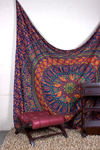 Aakriti Gallery Tapestry Queen Flower Hippie Tapestries Mandala Bohemian Psychedelic Intricate Indian Bedspread 92x82 Inches Brand Name