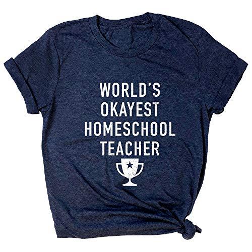 Spunky Pineapple World's Okayest Homeschool Teacher Funny School Premium T-Shirt Navy