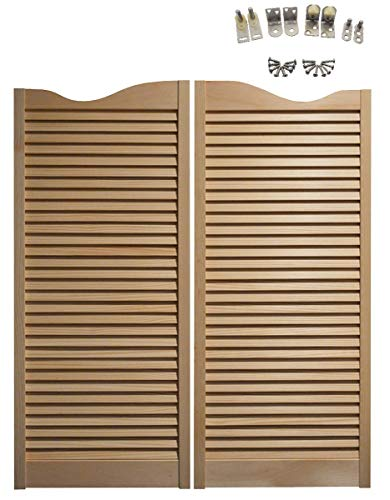 "Pine Cafe Doors Premade for Any 36"" Finished Opening (42"" Tall Doors): Includes Satin Chrome Hinges - Other Sizes Available- Saloon Swing Bar Pub Swinging Swing Door"