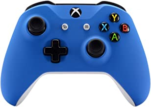 eXtremeRate Blue Faceplate Cover, Soft Touch Front Housing Shell Case, Comfortable Soft Grip Replacement Kit for Microsoft Xbox One X & One S Controller