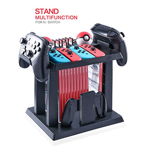 Storage Stand for Nintendo Switch, Storage Stand Controller Holder for Nintendo Switch Accessories and 2 Poke Ball Plus Controllers
