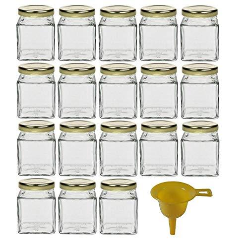 18 kleine Marmeladengläser für 106ml / für Konfitüre, Gewürze, Salze, Öle - inkl. einem gelben Einfülltrichter