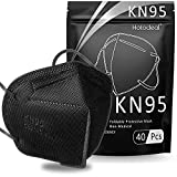 Hotodeal KN95 Face Mask 40 PCs, 5 Layers Cup Dust Mask, Masks Against PM2.5 from Fire Smoke, Dust, for Men, Women, Essential Workers(Black)