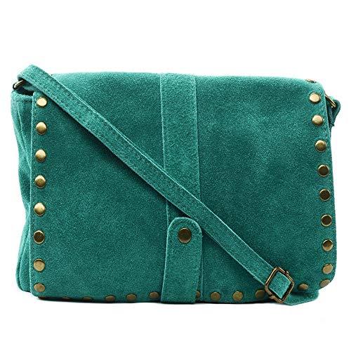 OH MY BAG - Borsa a tracolla da donna a mano, in vera pelle nabuk camoscio, made in Italy, modello Miami-Giallo senape Taglia unica, (laguna), Taglia unica
