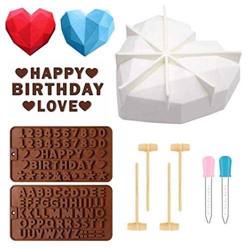 Chocolate Heart Mold Diamond Heart Mousse Cake Mold Letter and Number Chocolate Mold Silicone Trays Breakable Heart Molds Baking Pan with Wooden Hammers for Home Kitchen DIY Tools