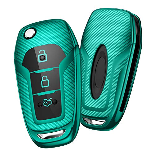OATSBASF Autoschlüssel Hülle Geeignet für Ford,Mondeo,Fiesta, Focus,Galaxy, Mustang,Kuga,Fusion Titanium 3 -Tasten Schlüsselhülle Cover Hülle TPU Schlüsselbox (Grün-Streifen)