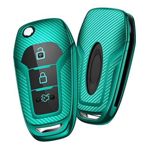 OATSBASF Autoschlüssel Hülle Geeignet für Ford,Mondeo,Fiesta, Focus,Galaxy, Mustang,Kuga,Fusion Titanium 3 -Tasten Schlüsselhülle Cover Case TPU Schlüsselbox (Grün-Streifen)