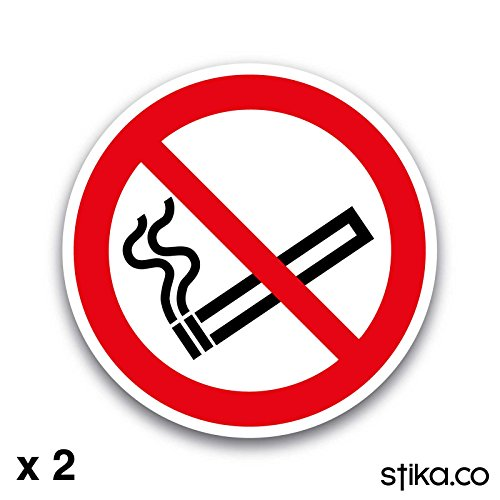 No Smoking Symbol Only 75mm dia. Self-adhesive Vinyl Sticker Safety Sign by stika.co