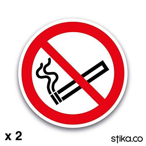Geen roken symbool alleen 75mm zelfklevende vinyl sticker veiligheidsteken (pak van 2)