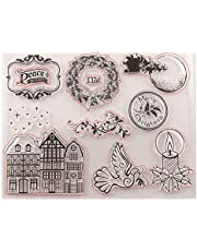 Merry Christmas House Candle Pigeon Clear Rubber Stamps for Scrapbooking Card Making Christmas Craft Stamps