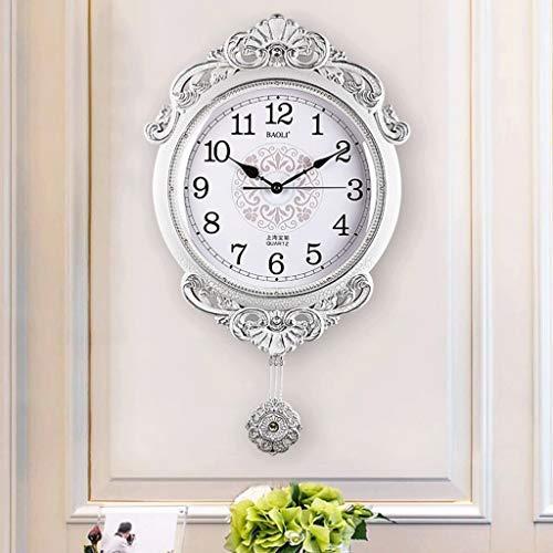 WXL Reloj de pared retro europeo creativo para sala de estar, reloj de pared de cuarzo americano moderno minimalista creativo (color: B)