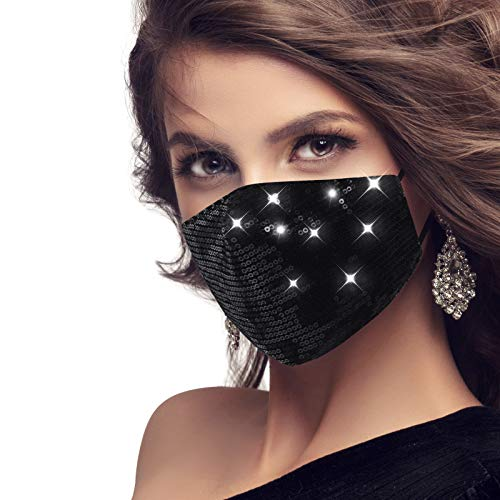 MEROURII Schwarz Pailletten-Gesichtsmaske, Baumwollmasken Glitzermasken waschbar und wiederverwendbar
