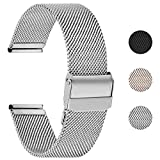 Fullmosa 【2020 Nuevo】 Correa de Reloj, Correa de Repuesto de Malla de Acero Inoxidable para Reloj (Samsung Gear s3s2 / ASUS Zenwatch/Huawei Watch etc.) Plata, 22 mm