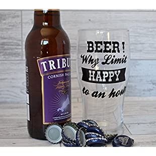 Pint Glass Gifts for Men Beer Why Limit Happy To An Hour