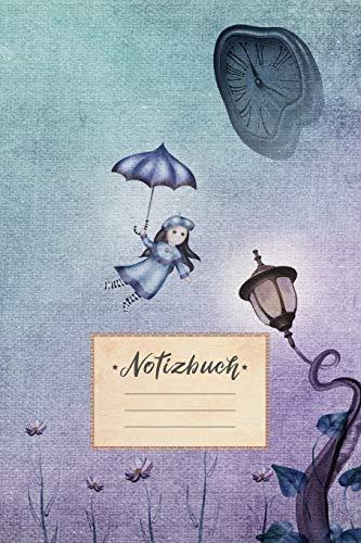 Notizbuch: liniert, 100 Seiten, DIN A5 Format, weißes Papier, glänzendes Softcover für hochwertiges Design | Notizheft - Tagebuch - Journal - Planer | ... Laterne Uhr Lila Blau Comic Zeichnung