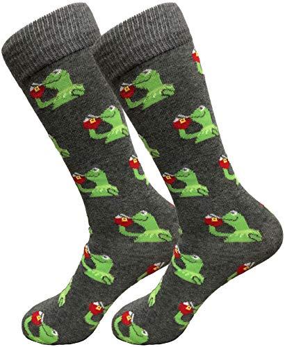 Balanced Co. Kermit Meme Dress Socks Funny Socks Crazy Socks Casual Cotton Crew Socks (Gray)