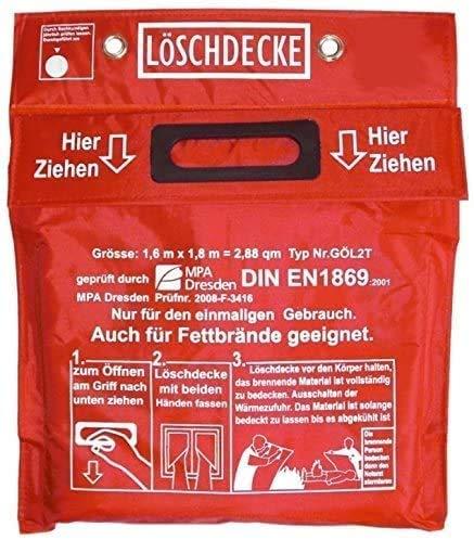 Original Gasschweißgeräte Löschdecke Geprüft MPA Dresden nach DIN EN 1869:2001 1,60 x 1,80 m (auch für Fettbrände) Schweißerdecke rote Tasche Klettverschluß 2 Ösen weißem Hitzebeständigem