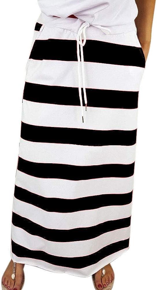 Stripe Short 5 ☆ popular Ultra-Cheap Deals Skirt for Women Knee Striped Casual Length Skirts S
