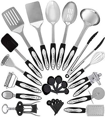 Home Hero Stainless Steel Kitchen Cooking Utensils - 25 Piece Utensil Set - Nonstick Kitchen Utensils Cookware Set with Spatula - Best Kitchen Gadgets Kitchen Tool Set
